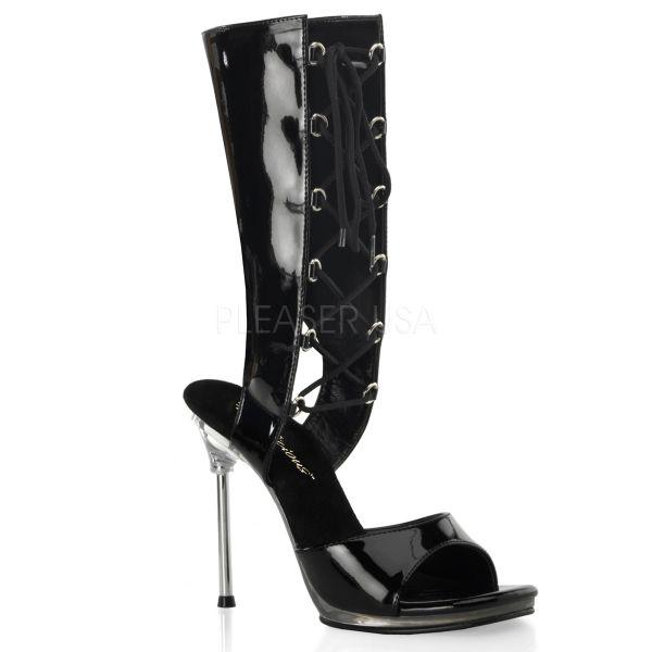 Mini Plateau Sandalette im Bootie-Style schwarz Lack mit Schnürung CHIC-65